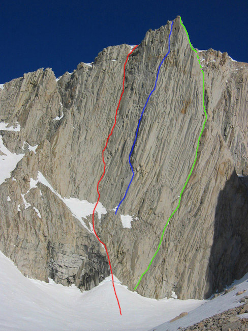 The east pillar of Mt. Barnard (13,680') showing, from left to right: Maiden-Tomczik, 2013 (red line); Rowell-Auger, 1972 (blue line); and The Good, The Bad, The Awesome (green line). There is one more known route on the wall (5.9), established in ca 1983 by Bob Harrington and Allan Bardand that lies between the green and blue lines with its exact location unknown.
