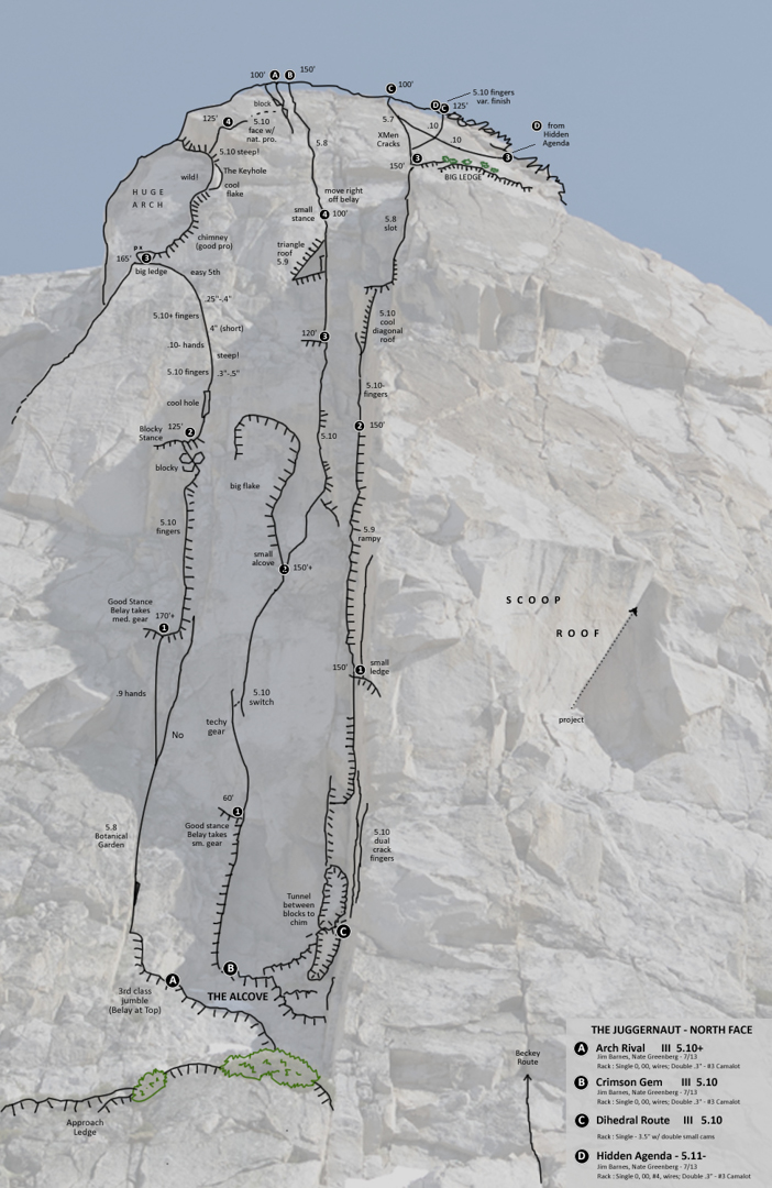 Topo for select routes on the Juggernaut.