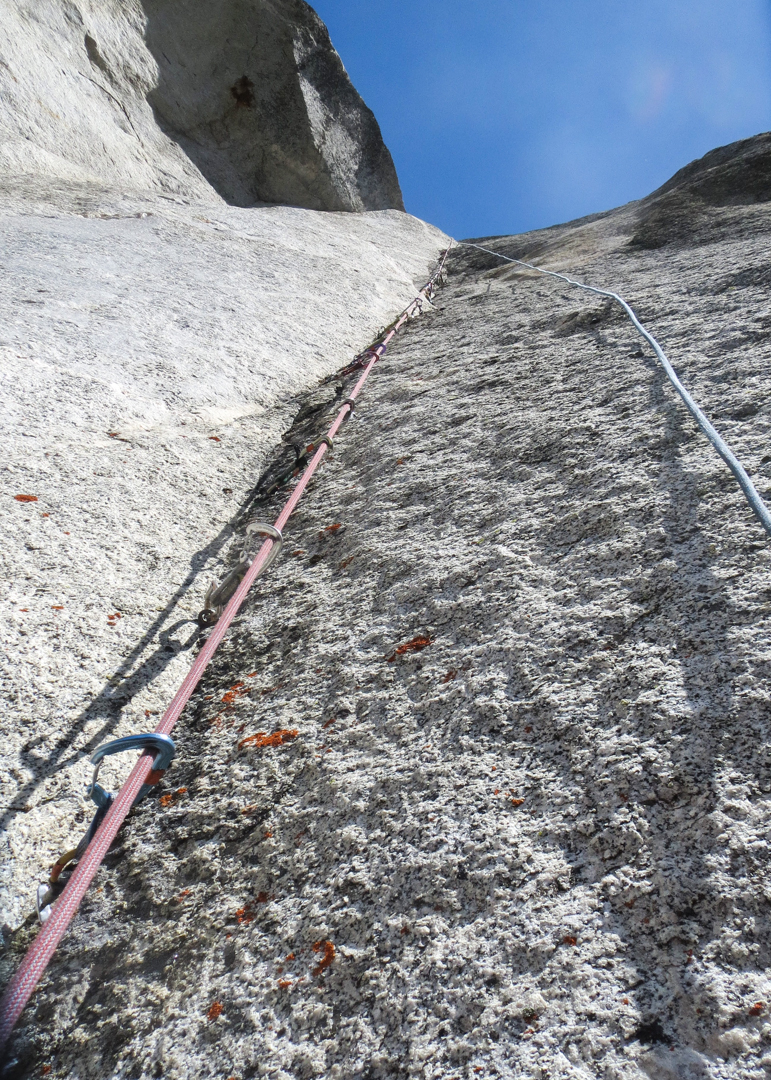 Looking up pitch 9, one of the best pitches on the route.