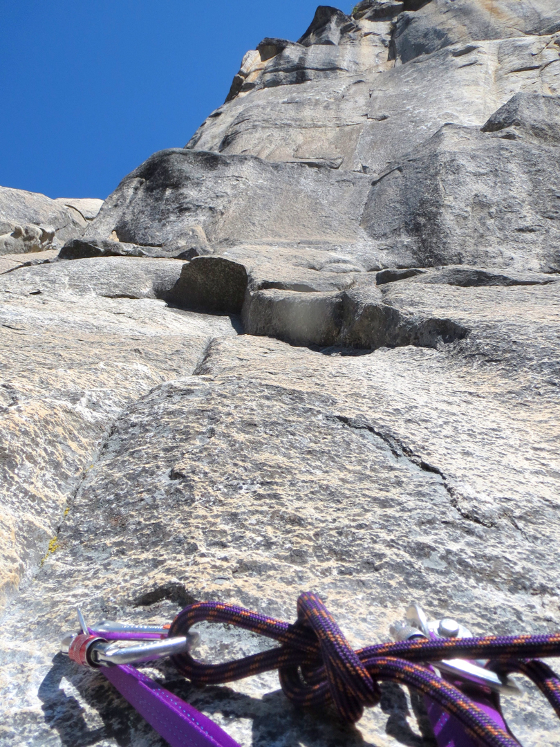 Looking up the thin, shallow beak seam on pitch 3.