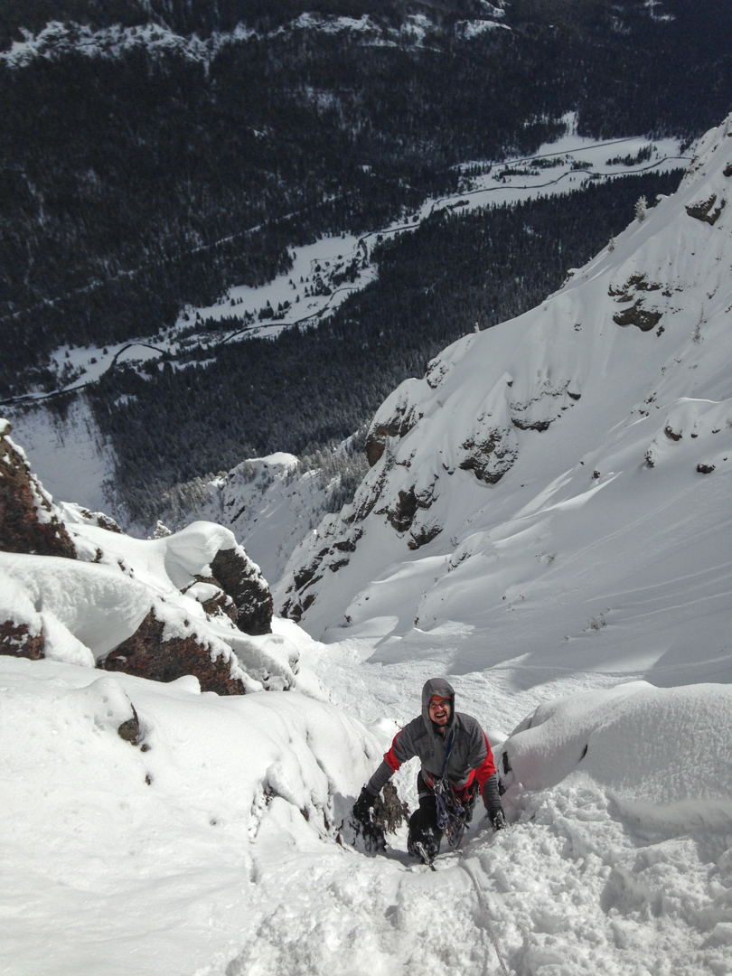 Justin Griffin heads up a section of snow in the middle of Sick Bird (2,800', WI5 M7).