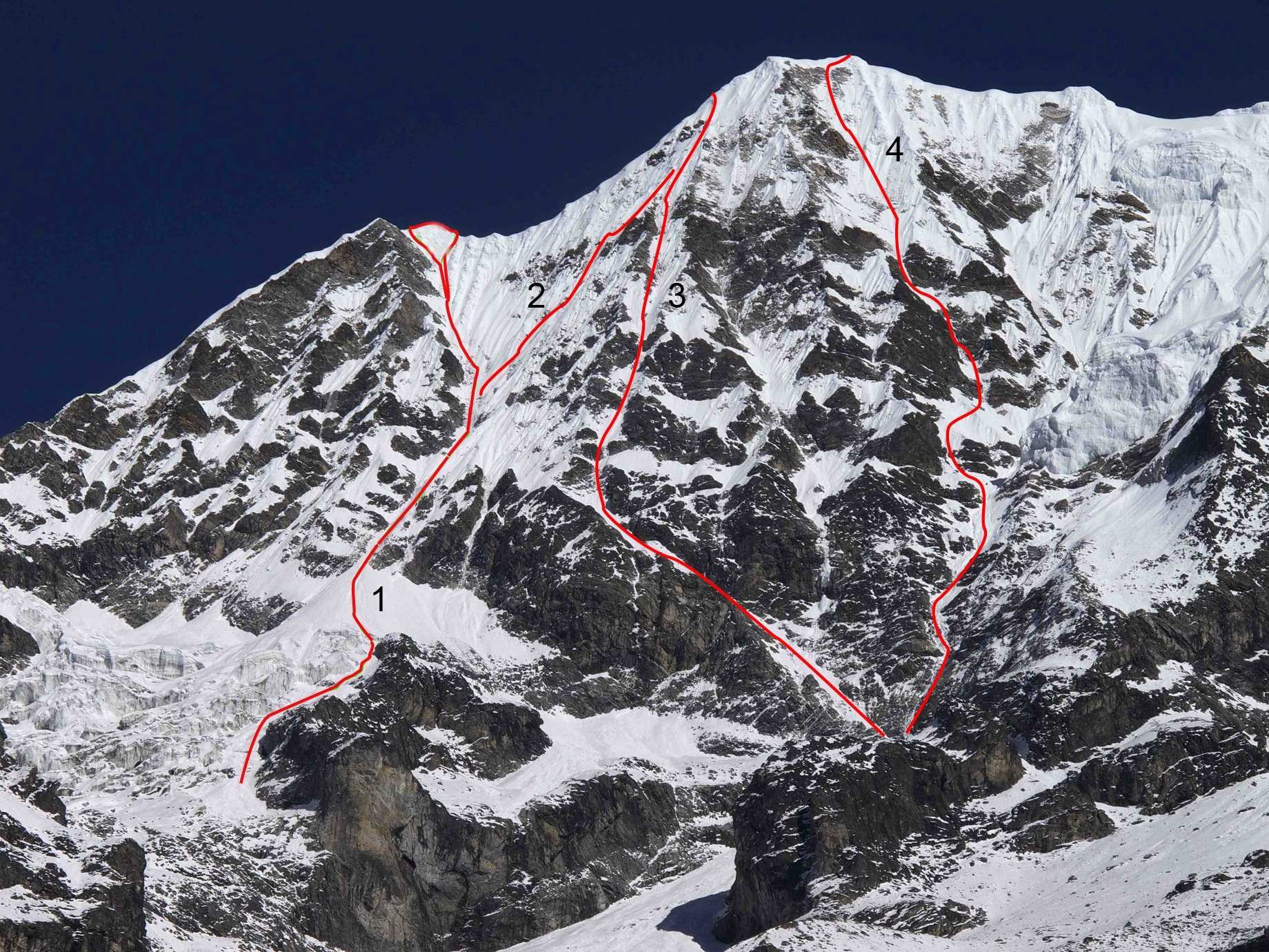 The south face of Chekigo. (1) South face of Chekigo Sano. (2) Descent from Via Sopeti. (3) Via Sopeti (not to summit). (4) Shiva–Straight to the Top.