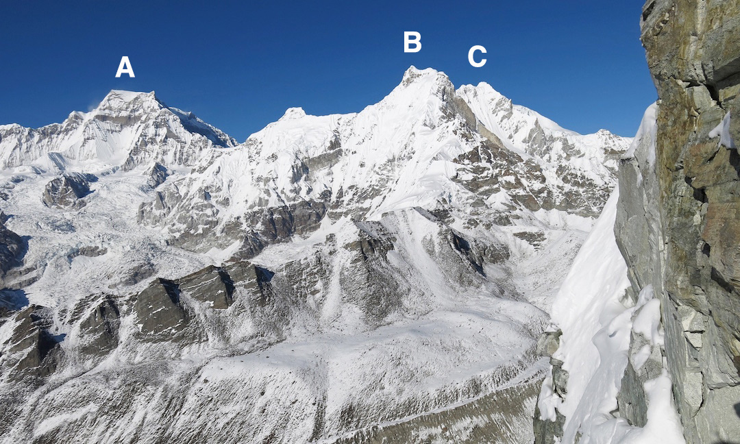 View north from Kangcho Nup. (A) Gyachung Kang (7,952m). (B) Hunchi (7,029m). The ridge facing the camera was used by the Japanese in 2003 to make the first ascent. (C) Peak 6,942m.