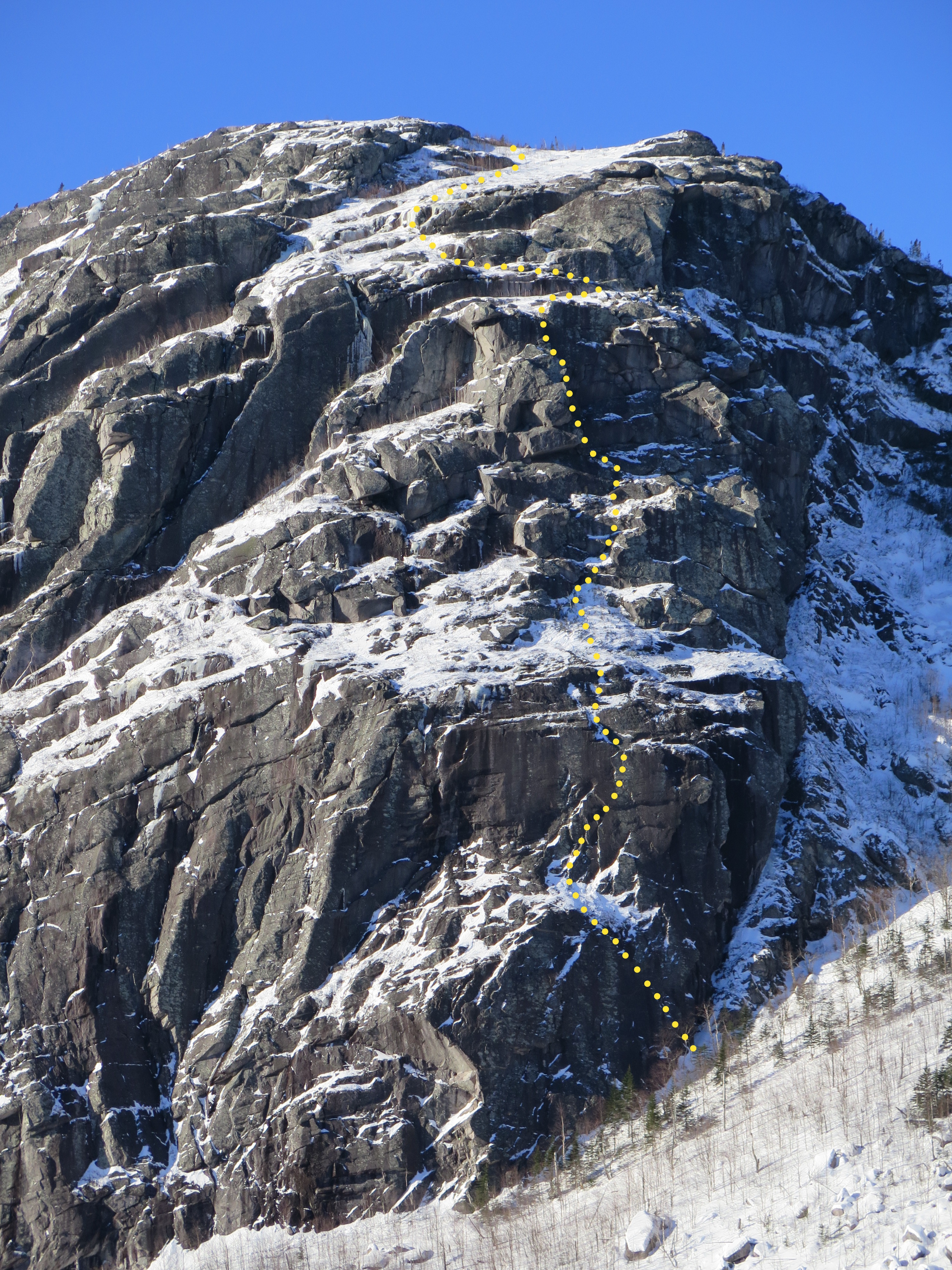 The north face of Mont Gros Bras showing the new route Le Dernier Rōnin (175m, M6 C1), which means the Last Ronin.