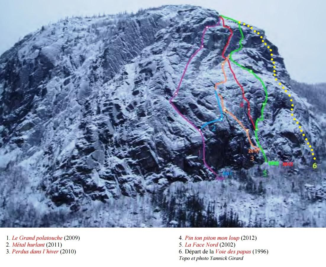 Other known winter routes on Mont Gros Bras.