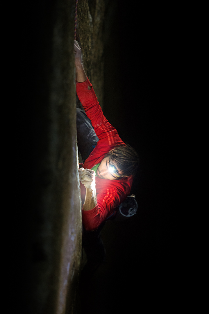 Climbing at night provided cool temperatures for better grip and a surprising side benefit: The headlamp cast shadows that made tiny footholds look bigger.