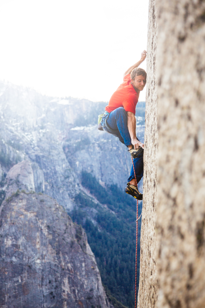 Tommy Caldwell makes the most of minimal holds on pitch 19 (5.13c),