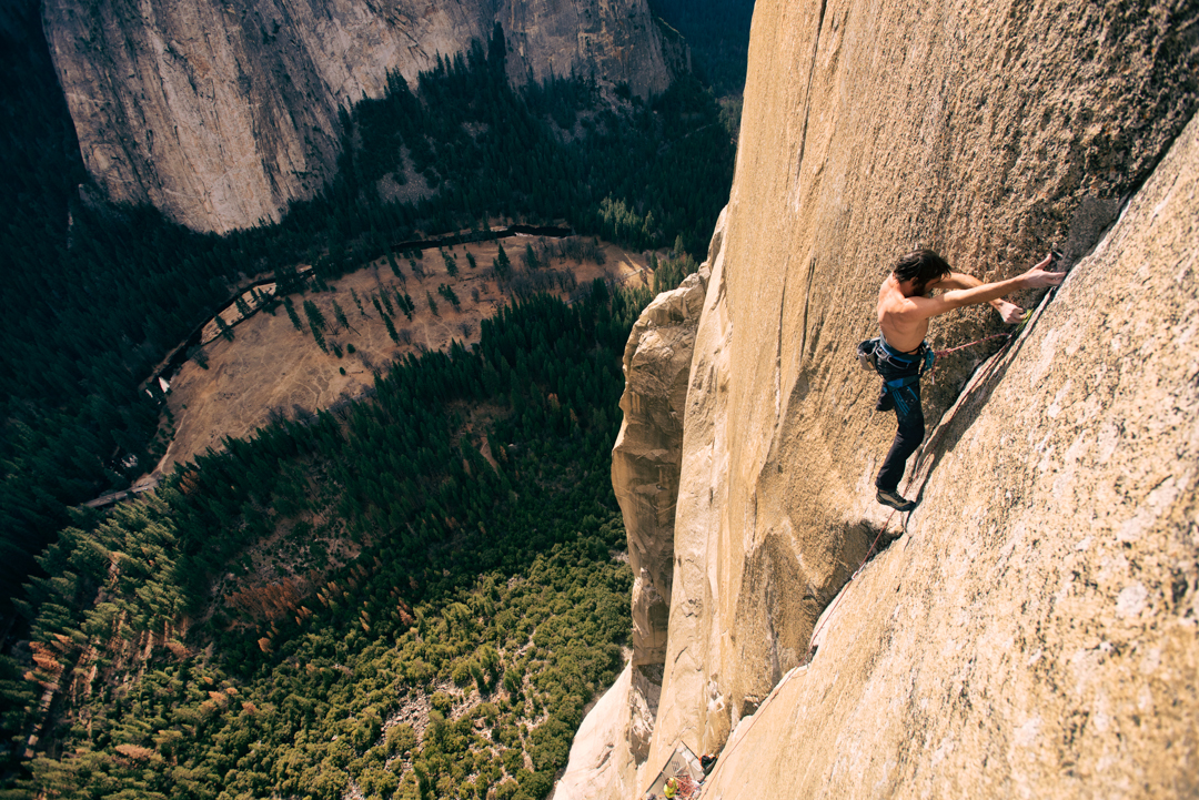 With the crux behind, Jorgeson pushes toward the top.