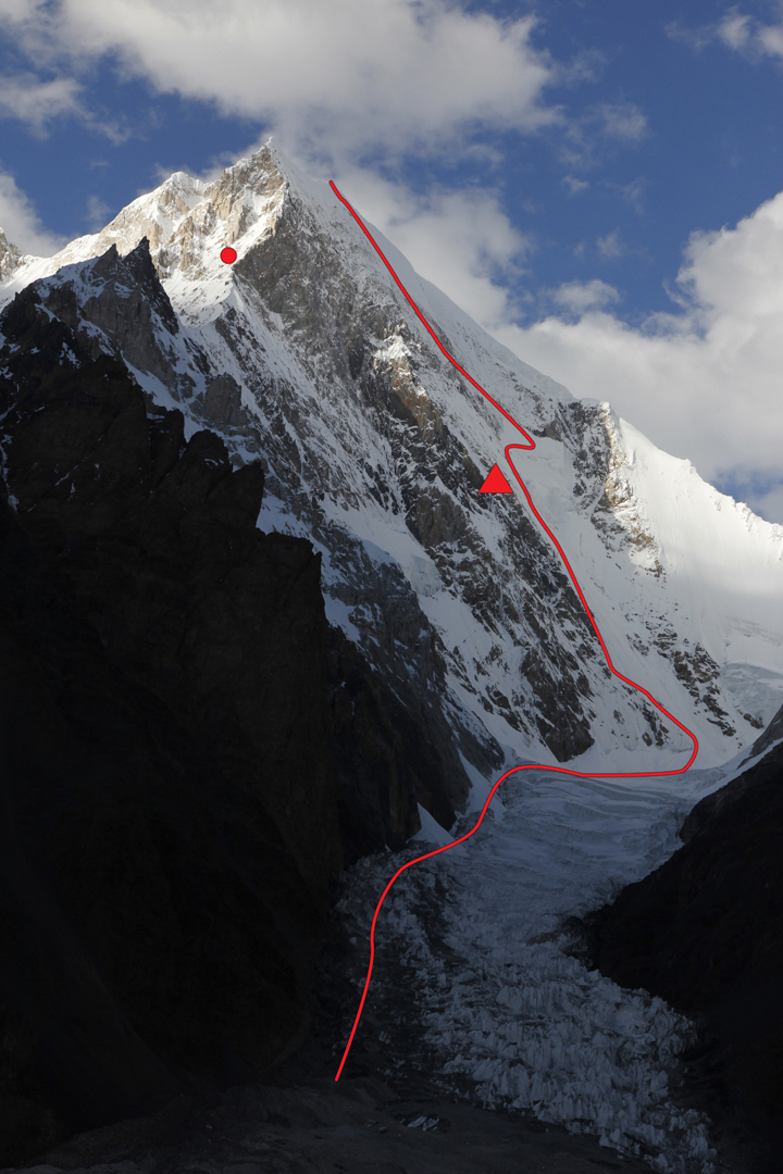 The line of Korean Direct on the 1,450-meter south face of Gasherbrum V, with the midway camp marked. The red dot marks the approximate high point (ca 6,700m) of the 2012 French attempt on the south face and southwest ridge, to the left of the Korean line. Another French party attempted the south face to the right of the Korean route in 1980, also reaching 6,700 meters.