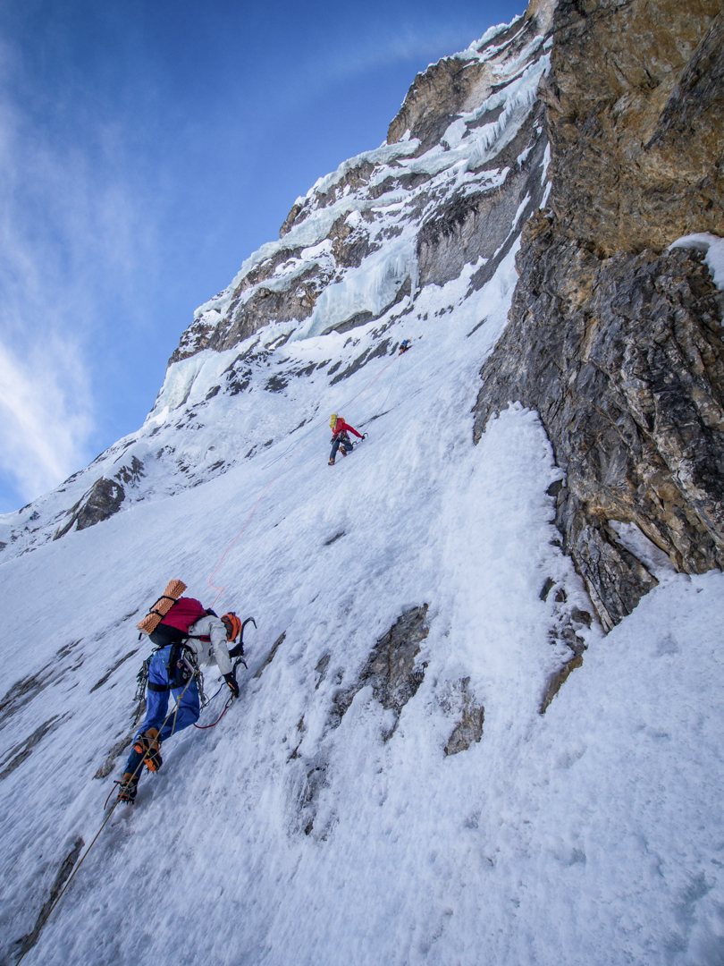 "Climbing as a team of four was crucial to the success of the French climbers, seen here on day three of the ""ice big wall"" of Siula Chico."