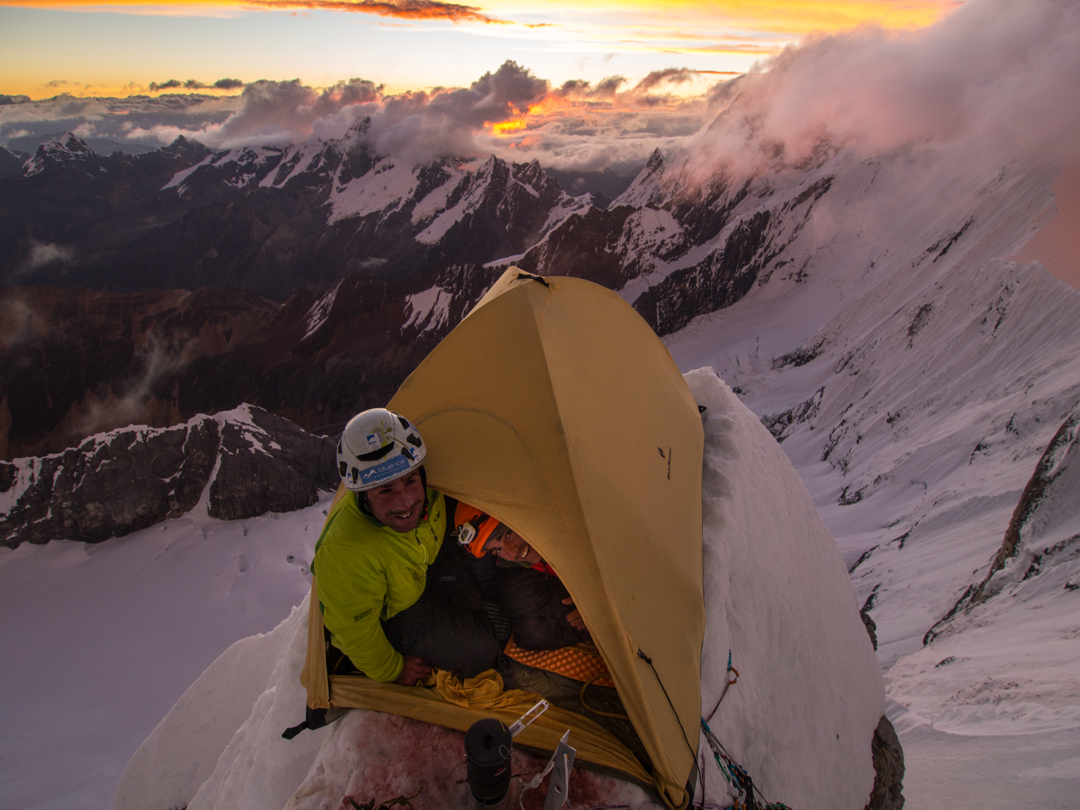 Sunset at the exposed second bivouac on the west face.