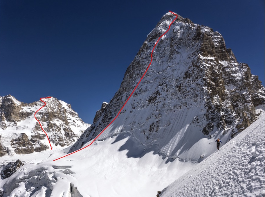 The north face of Hagshu and Slovenian route, seen from Peak 5,680m. Hana's Men is to the left, showing the Slovenian route.