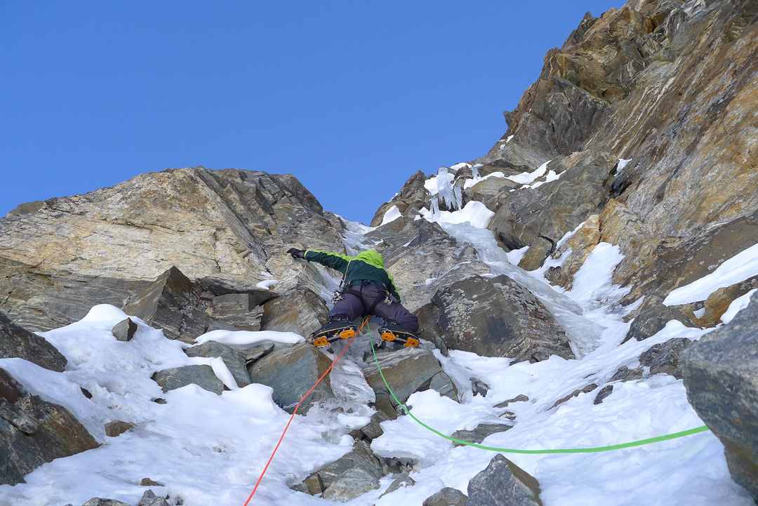 Paul Ramsden on a thinly iced passage during the first ascent of the northeast face.