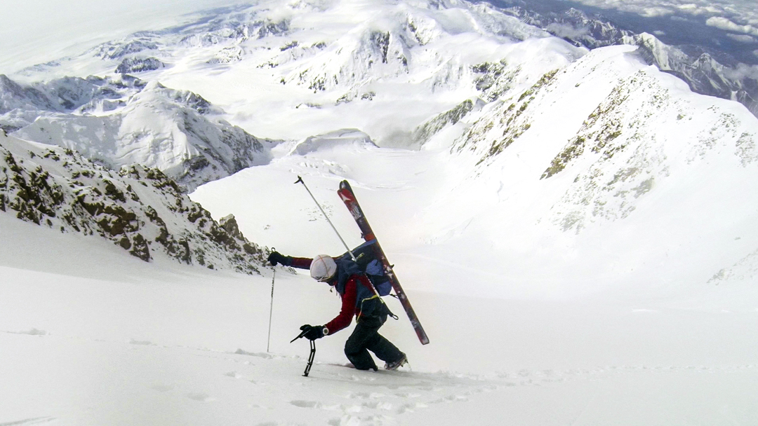 Jornet climbing the Rescue Gully toward Denali's high camp. He wore or carried his lightweight skis throughout the ascent.