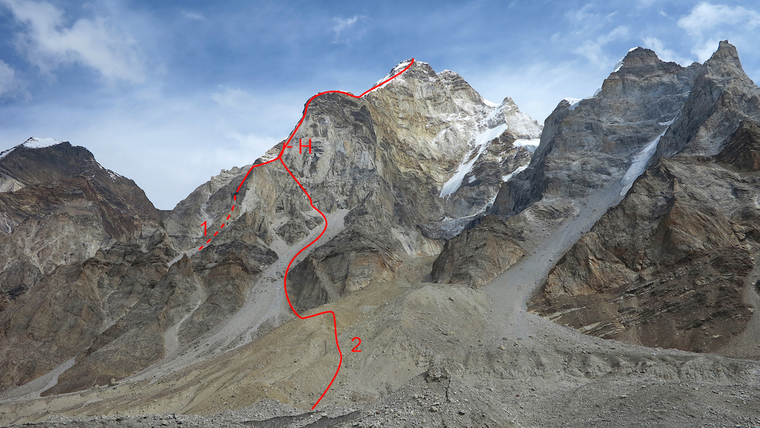 Bhagirathi I from the southwest. The top of the west face of Bhagirathi III is visible at left. (1) West Ridge (1983). (2) Variant start (2014) and high point (H).