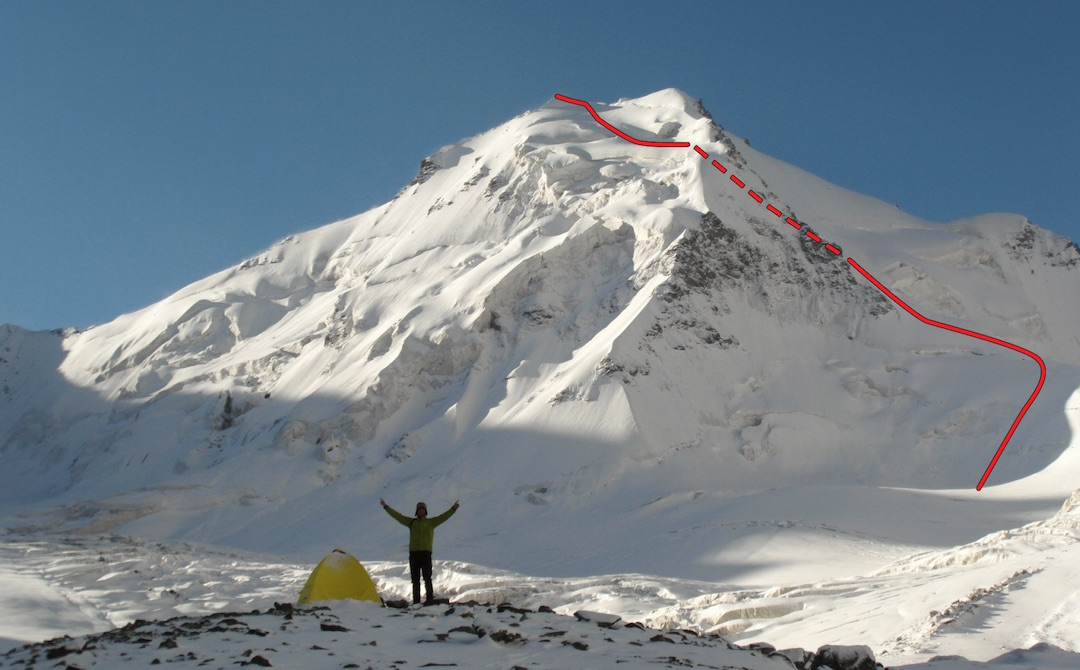 Peak 5,081m from the upper Grigoriev Glacier to the north, with the route of ascent on the northwest face.