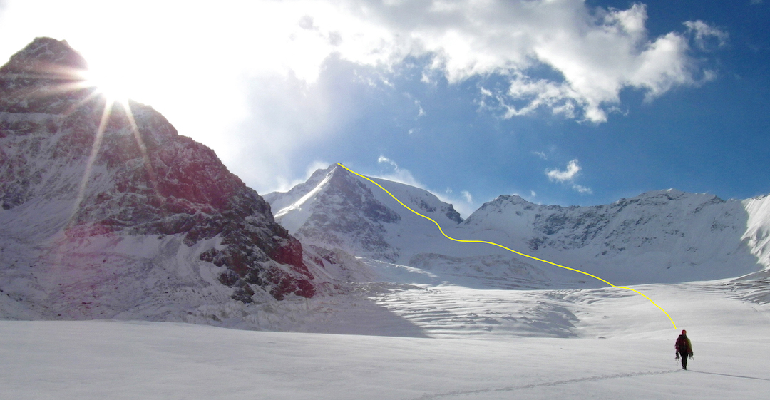 Peak 5,161m from the northwest and route of ascent. The lower summits on the crest to the right are ca 4,800m.