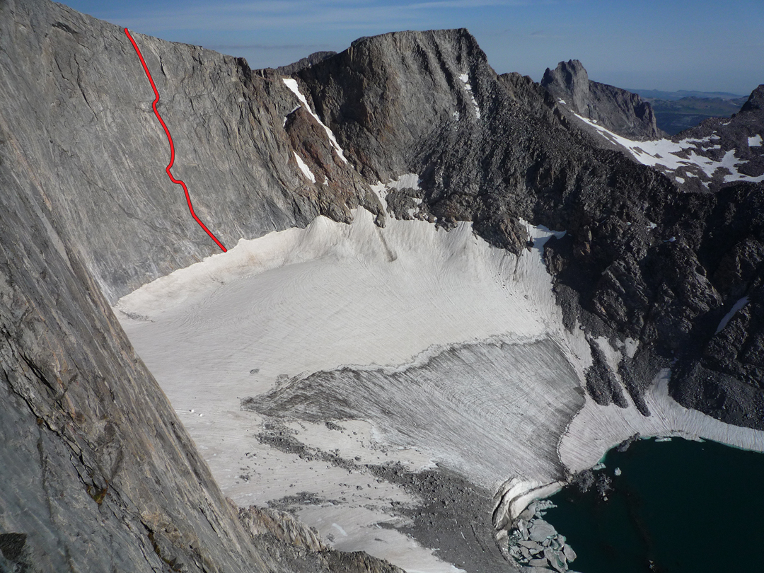 The east face cirque above the Cloud Peak Glacier. Shimmering Abstraction (5.11, 1986), the only known rock route in the cirque, is marked.