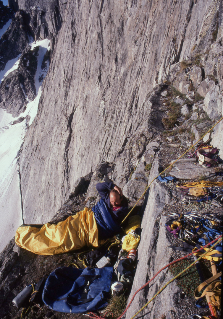 Mike Lilygren during the second ascent of Shimmering Abstraction.  Steve Bechtel [Right] Morning on Cloud Peak's east face.