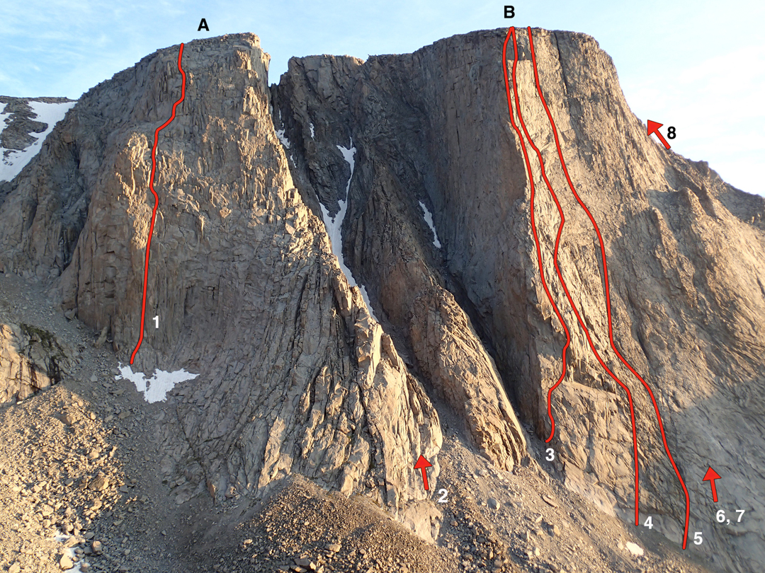 The south buttresses of (A) Cloud Peak and (B) the Merlon. (1) Rust Never Sleeps (10 pitches, 5.11a, Jenkins-MacDonald, 2014). (2) Southeast arête (1,200', 5.8, climbed in 2014 but first ascent unknown). (3) No Climb for Old Men (12 pitches, 5.11c R A2, Duncan-Jenkins, 2008). (4) South prow (5.11a, Cupal and partner, 1988). (5) Super Fortress (5.11+, Bechtel-Lilygren-Model, 1996). (6) Attempt (ca 1975) by Dennis Horning and Jeb Schenck. (7) Scott Heywood and partners (ca 5.9, 1970s, exact line unknown). (8) East prow (5.7, Davis-Jacquot-Satterfield, 1961). Lines on the Merlon are approximate. The steep, shadowed southwest face of the Merlon has no known routes.
