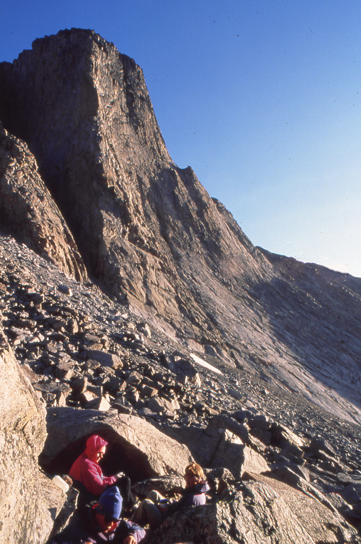High camp below the Merlon, the ca 1,250-foot buttress southeast of Cloud Peak. The big prow's climbing history is obscure, and at least two parties, in the 1990s and 2000s, mistakenly thought they were doing first ascents.
