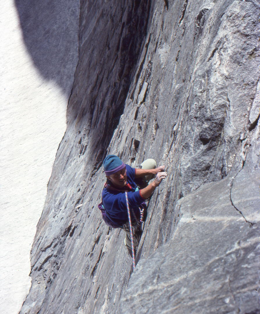 Mike Lilygren during the second ascent of Shimmering Abstraction.