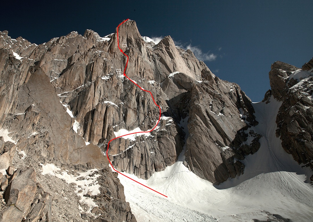 The Basque route up the south face of Paiju south tower. The summit of Paiju is hidden behind, though part of the serac barrier that was deemed suicidal to approach can be seen right of the upper tower.