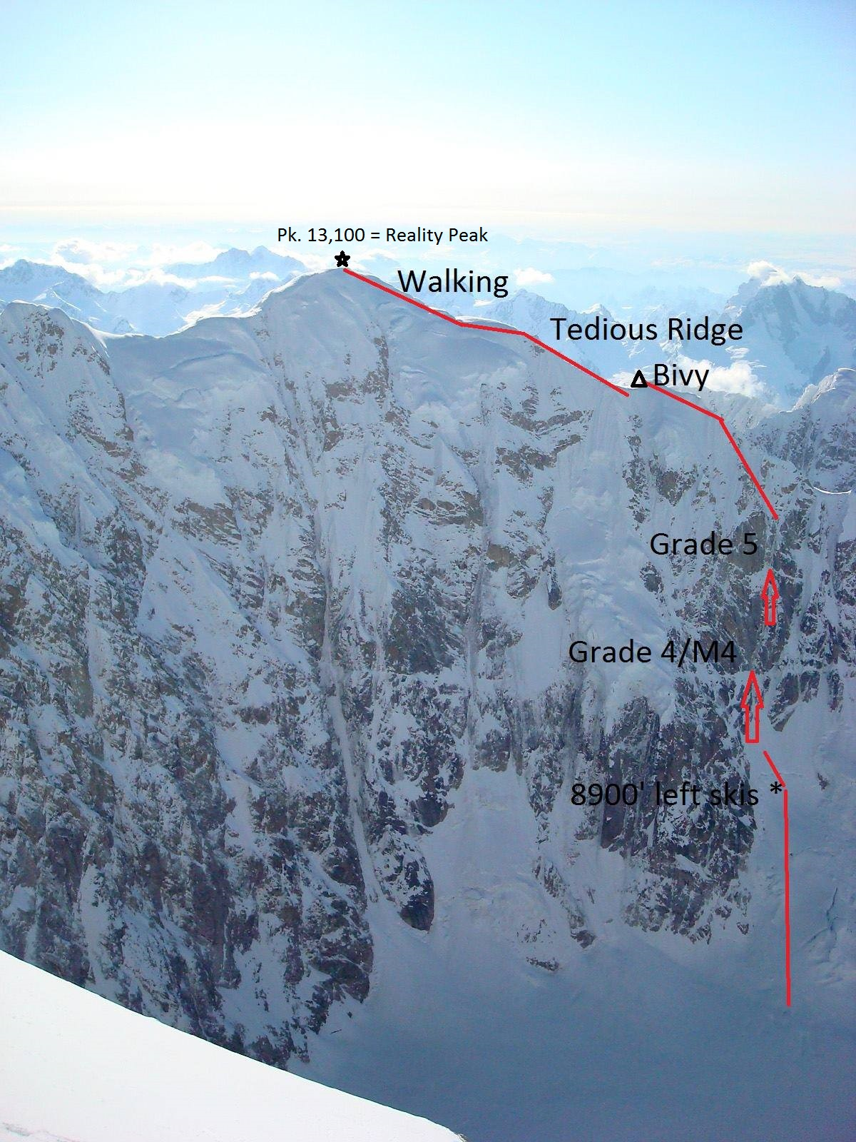 "The west face of Peak 13,100', ""Reality Peak,"" as seen from the Isis Face. Devil's Advocate (4,200', AI5 M4) follows the red line."