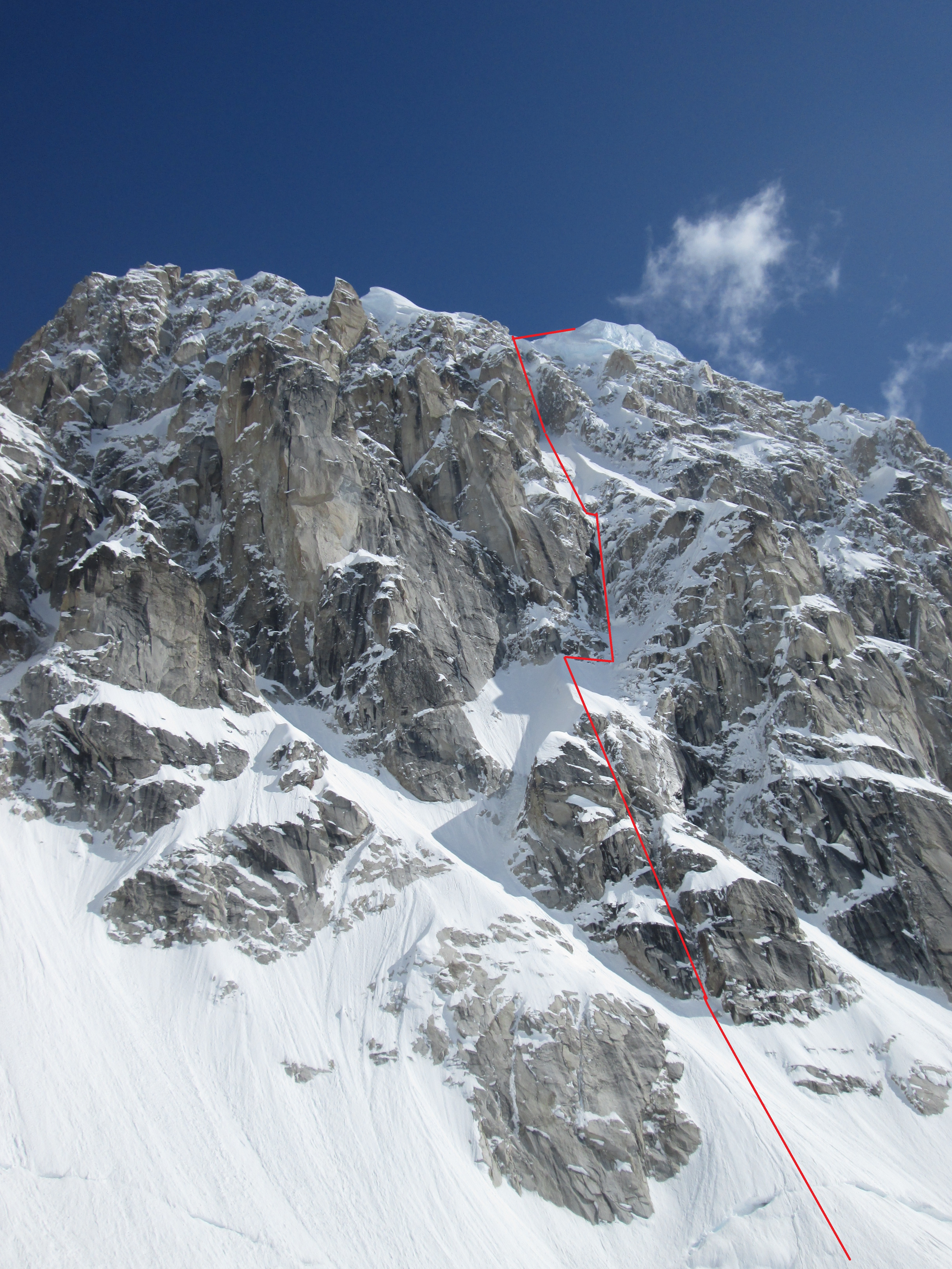 "The west face of Peak 11,300 showing the Right Couloir (1983) and the new ""sit start."""