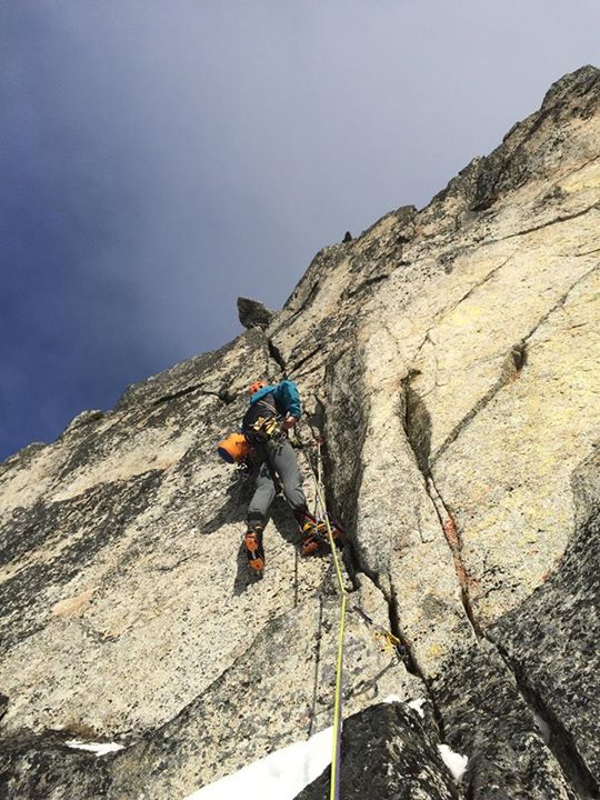 On the steep seventh pitch.