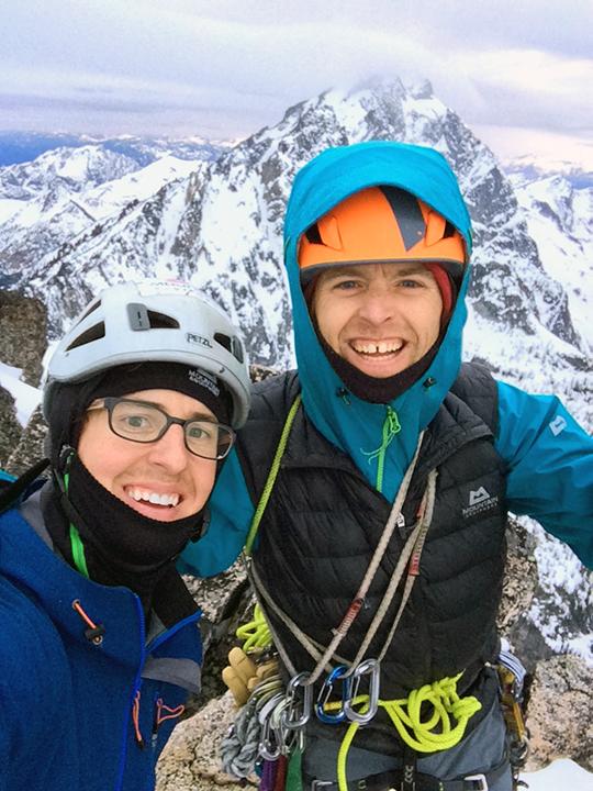 Vern Nelson Jr. and Jens Holsten on the summit of Argonaut Peak.