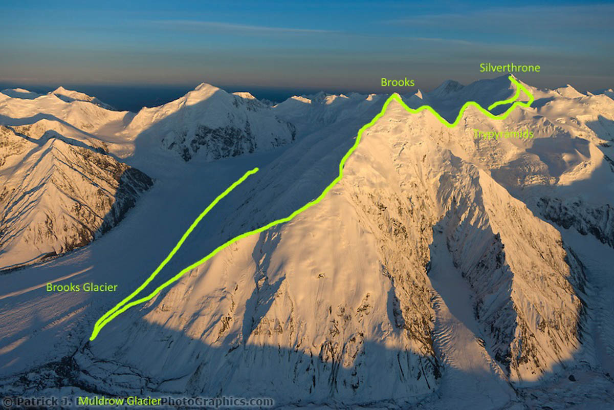 An overview of the traverse from Mt. Silverthrone, across the Pyramid peaks, and over Mt. Brooks.
