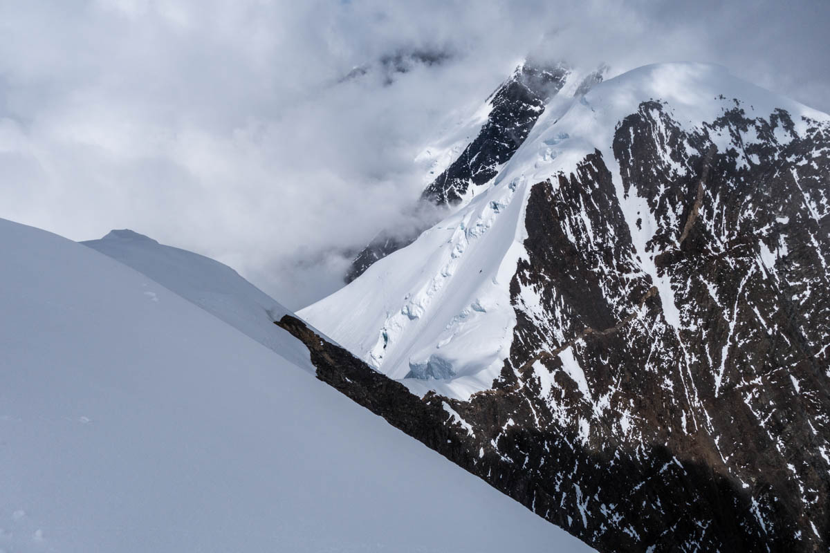 East Pyramid's southwest ridge. This ridge proved to be the crux of the route and was previously unclimbed.