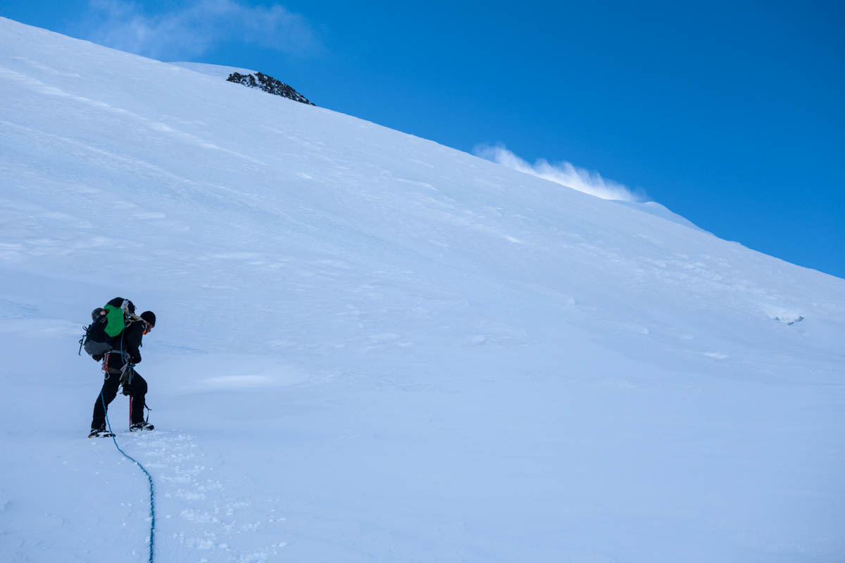 Gabe Messercola approaching the summit of Mt. Silverthrone.