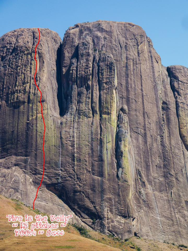 The new route Fire in the Belly (700m, 8a+) on Tsaranoro Atsimo (the leftmost wall of the four-walled Tsaranoro Massif).