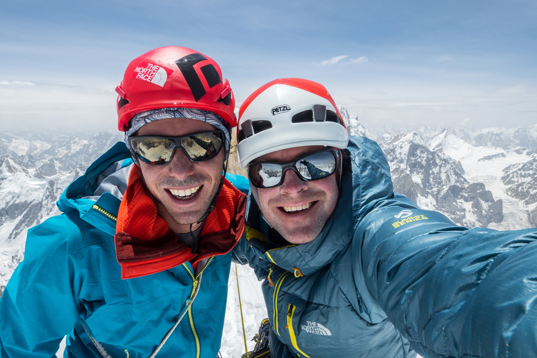 Andy Houseman (left) and Jon Griffith at the top of Link Sar West.
