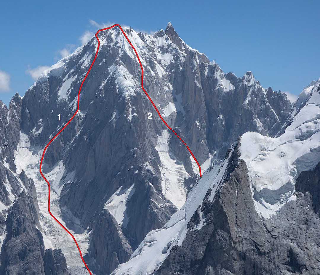 Link Sar's main summit (7,041m) is the rock pyramid to the right. The left-hand line (1) is Fever Pitch on the northwest face of Link Sar West (6,938m). The right-hand line (2) shows the committing descent of the southwest face to an unnamed glacier basin.