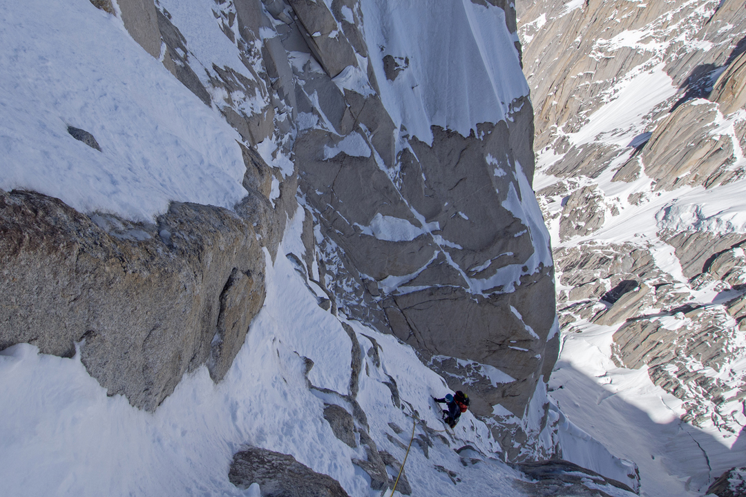 Jon Griffth in the ice runnels on the northwest face of Link Sar West.