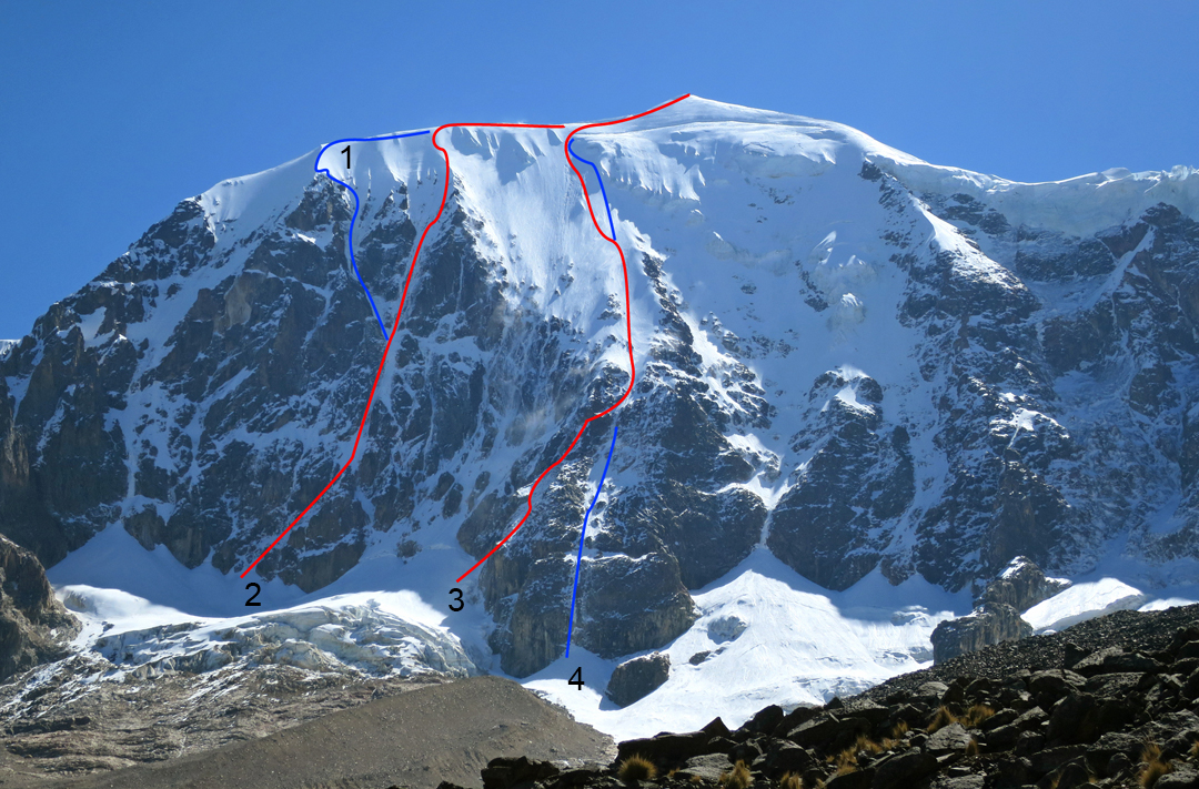 The south face of Illimani showing the two partial new routes climbed in 2015. (1) Por la Vida (2015). (2) Hubert Ducroz (1988). (3) Original Laba-Thackray route (1974). (4) Directa Italiana (2015). Many other routes on this face are not shown.