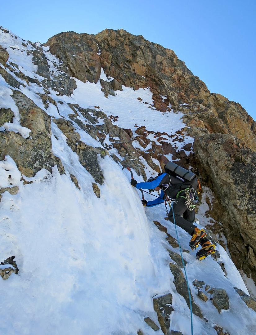 Marco Majori high on the initial rock buttress of Directa Italiana.