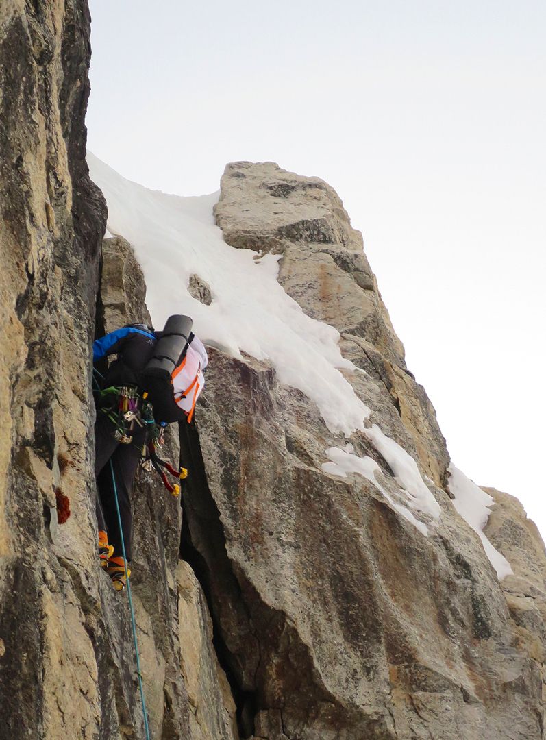 Marco Majori on the first section of the initial rock buttress of Directa Italiana.
