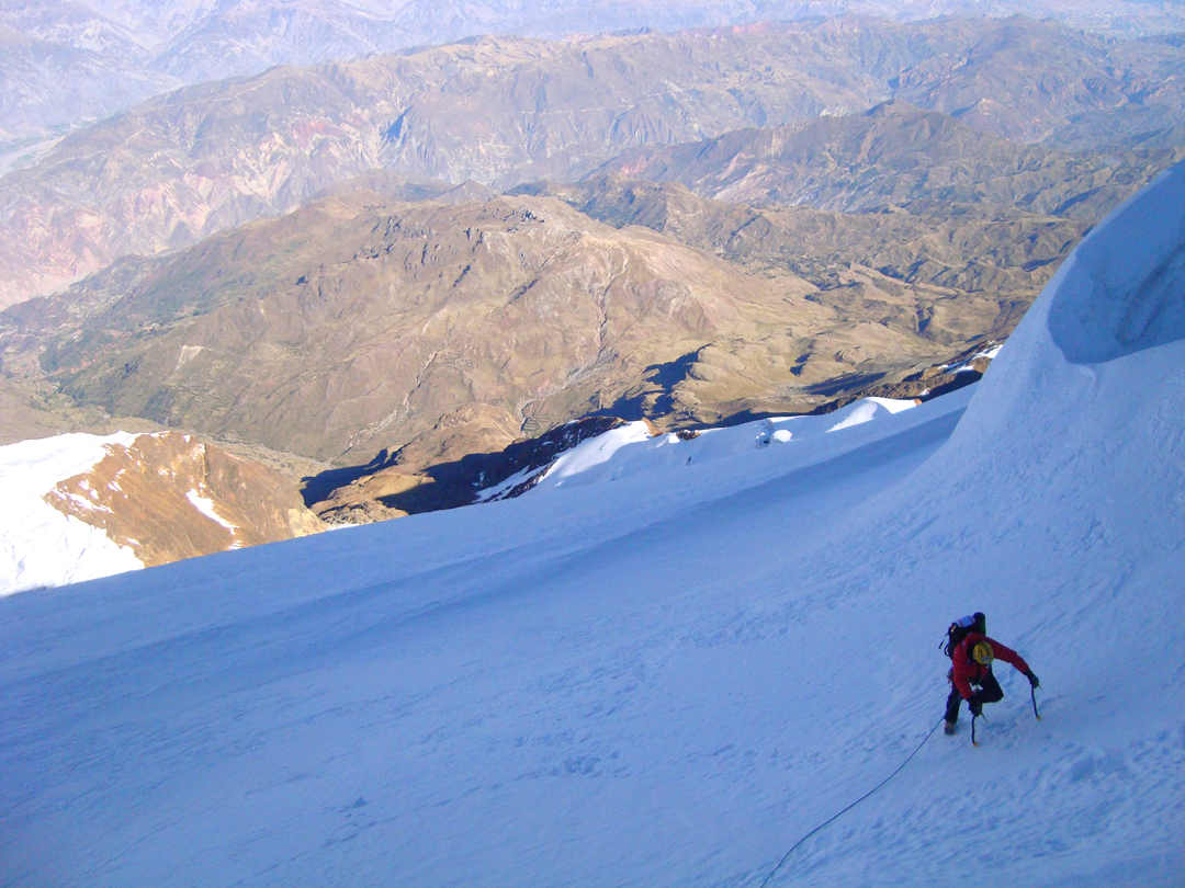 Marco Farina on the final slopes of the south face of Illimani.