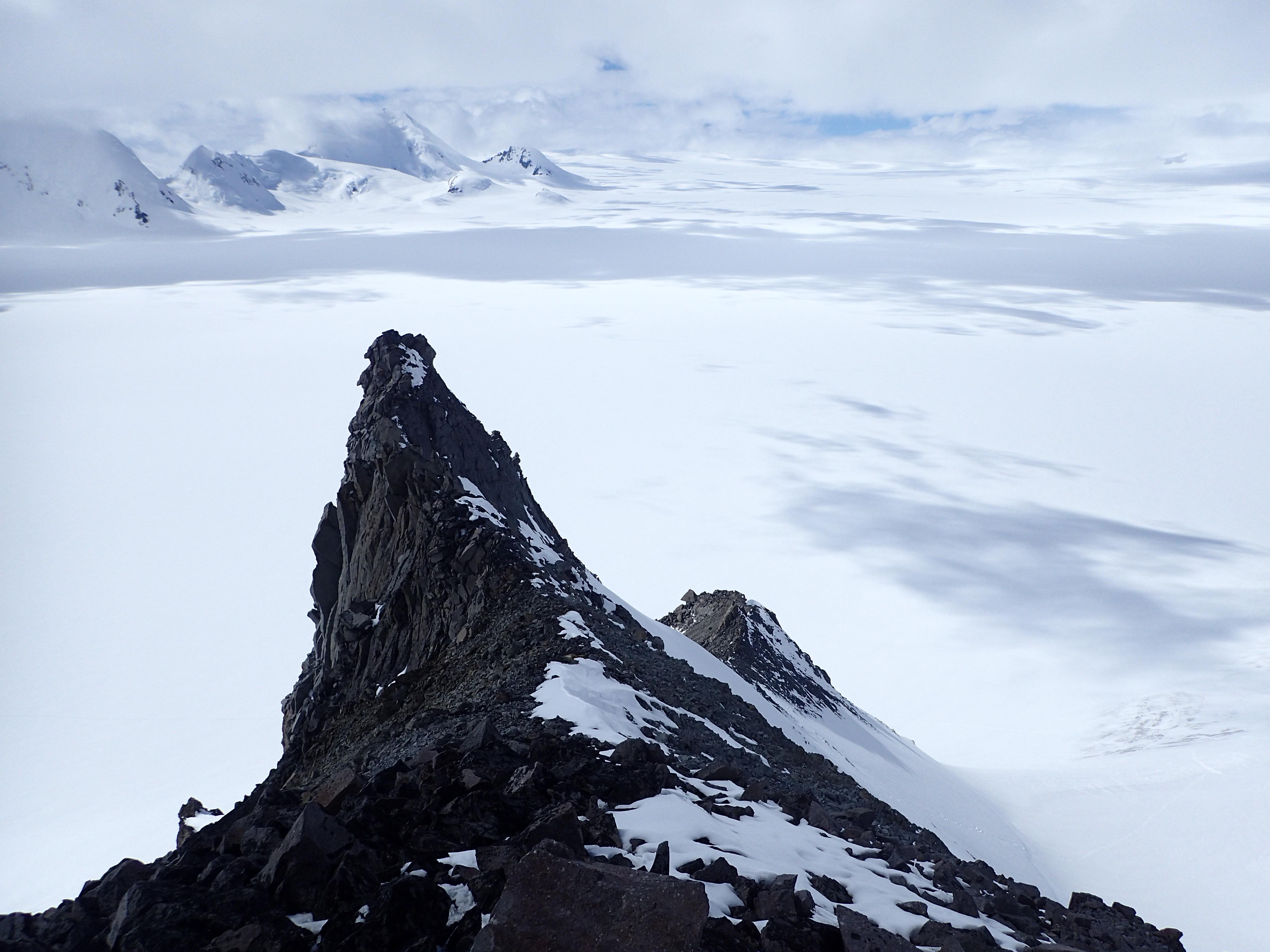 Looking down the ridgeline of Peak 8,615'.
