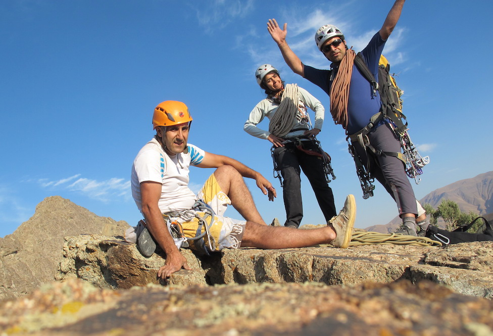 Zohreh Ofoghi, Majid Azimi, and Hamid Reza Shafaghi on top of the 800m route Marathon.