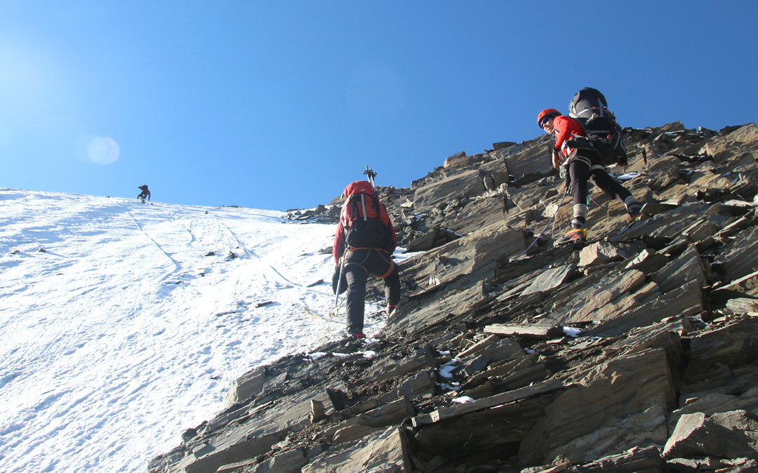 A pitched section of bad ice during the first ascent of Pik 5,023m.