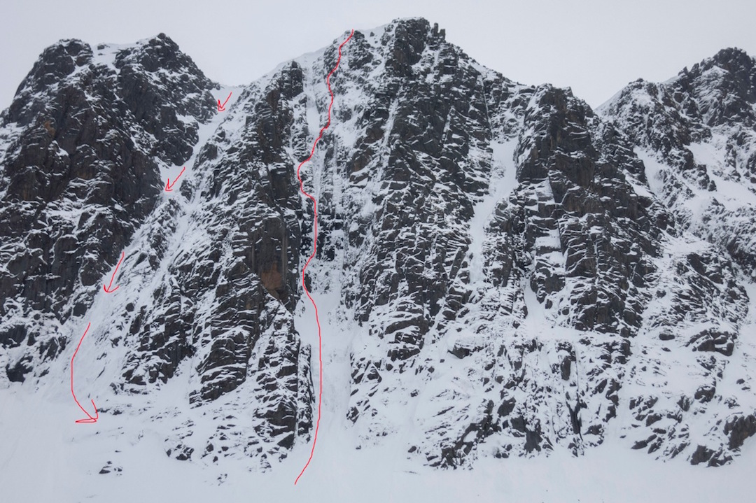 Morning Bread (center) with the descent route marked to the left.
