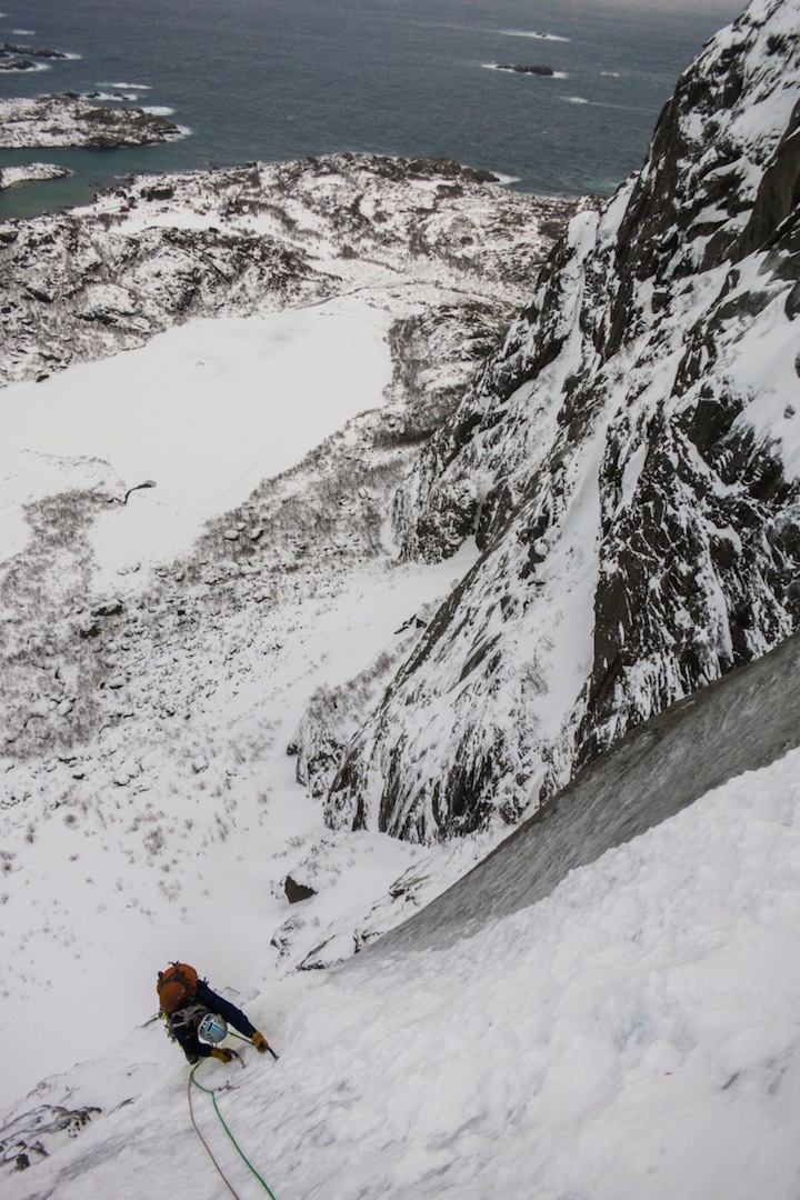 Kurt Hicks low on the northeast face of Vågakallen.