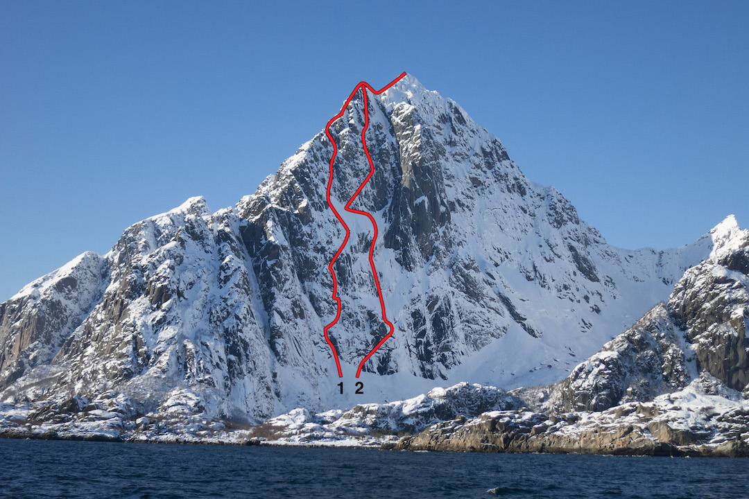The northeast face of Vågakallen showing (1) Night Crosses the Crown (2015) and (2) the Scottish Route (Benson-Robertson, 2001). The prominent buttress in center is the Storpillaren, home to several difficult rock routes. The north face is to the right. Various routes are not shown.