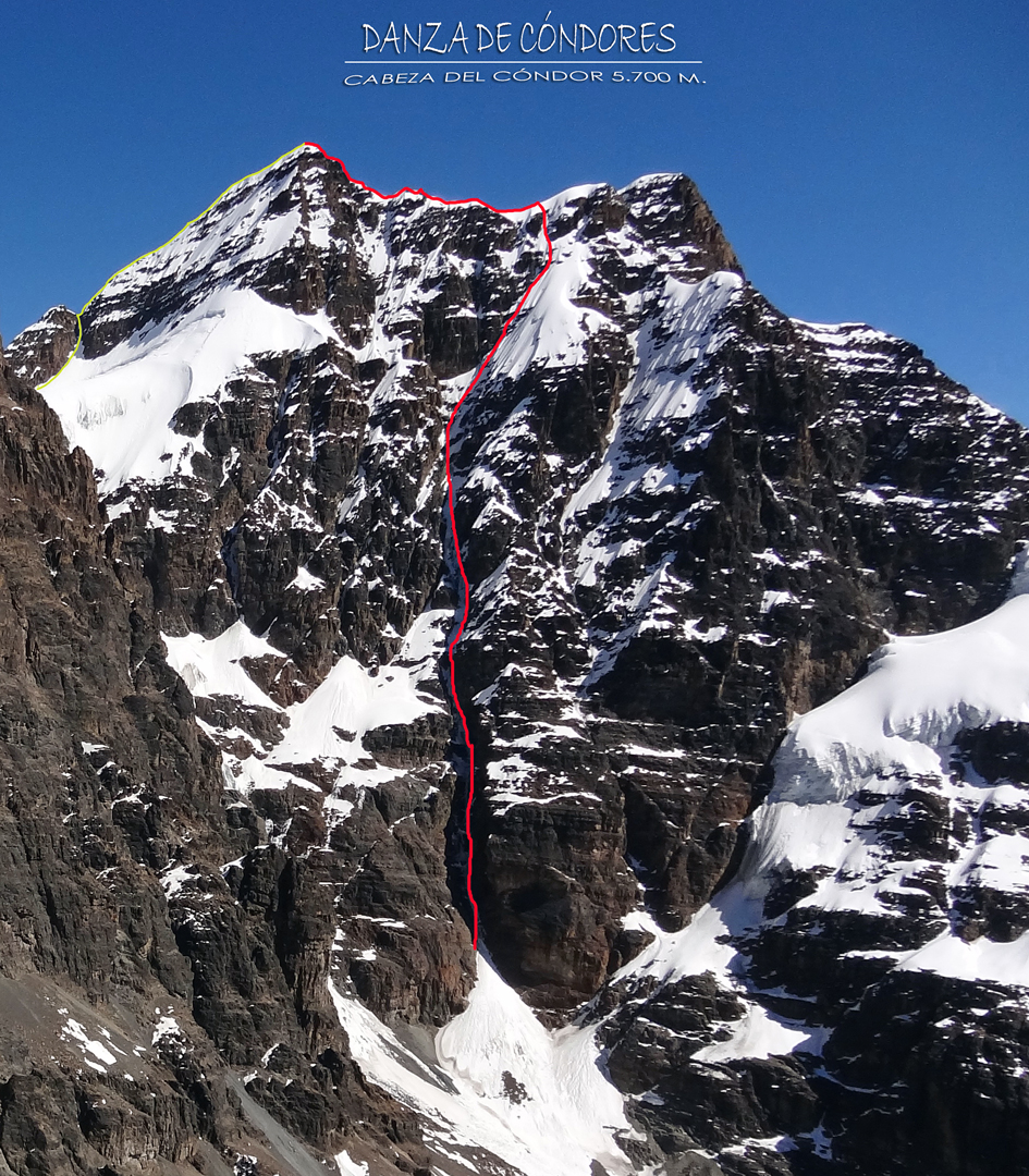 The ca 700m east face of Cabeza de Condor with the line of Danza de Condores. The descent along the southwest ridge (yellow line) followed the lefthand skyline, above the much shorter southeast face, as far as the small notch, then continued down a short couloir to the hanging glacier.
