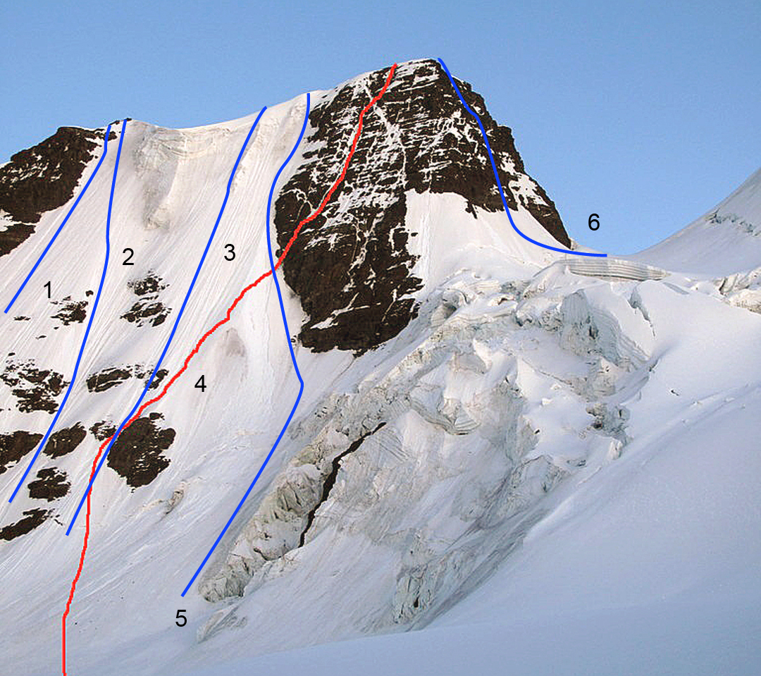 The south face of Ala Izquierda showing some of the existing lines. (1) Left Route (D). (2) French-Italian (Gelmi-Ferrari-Mesili, 1973, D-). (3) Direct Route (Baud-Mesili-Pimienta, 1978, D). (4) Machaca–von Ungern Variation (D+). (5) Right Route (D-). (6) East Ridge (Coetzee-Griffin, 1963, AD).